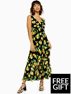 topshop-topshop-lemon-print-bias-cut-midi-dress-black