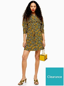 topshop-petite-pleat-mini-dress-mustard
