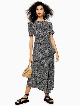 topshop-printed-side-split-midi-dress-monochrome