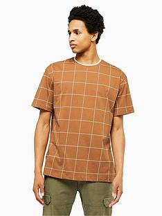 topman-topman-window-pane-check-t-shirt-brown