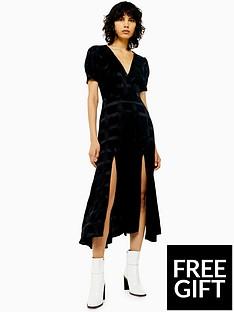 topshop-topshopnbspcheck-smock-dress-black