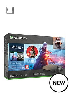 microsoft-xbox-one-x-gold-rush-special-edition-battlefield-v-bundle-1tb-apex-legends-founders-pack-with-optional-extras