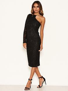 ax-paris-lace-one-shoulder-dress-with-chain-detail-black