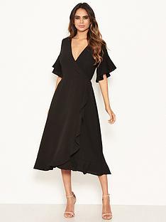 ax-paris-short-sleeved-frill-hem-dress-black