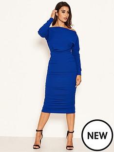 ax-paris-off-shoulder-ruched-dress-cobalt