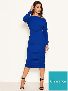 ax-paris-off-shoulder-ruched-dress-cobalt