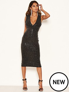 ax-paris-sequin-v-neck-midi-dress-black