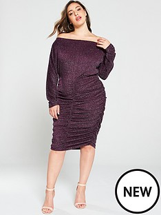ax-paris-curve-ruched-glitter-midi-dress-plum