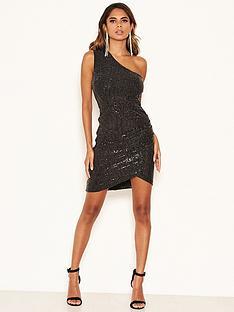 ax-paris-petite-one-shoulder-sparkle-ruched-dress-black