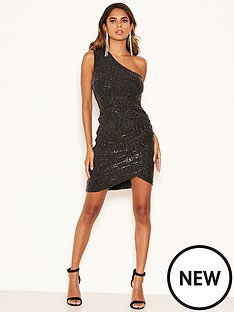 ax-paris-petite-one-shoulder-sparkle-ruched-dress-black
