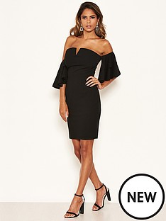 ax-paris-petite-bardot-notch-front-dress-black