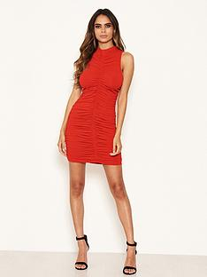 ax-paris-petite-high-neck-ruched-dress-red