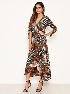 ax-paris-animal-print-wrap-midi-dress-brownnbsp