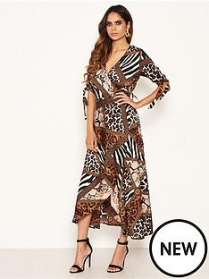 ax-paris-animal-print-wrap-midi-dress-brownnbsp