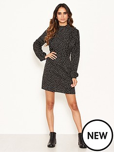 ax-paris-polka-print-high-neck-dress-blacknbsp