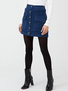 v-by-very-cord-button-front-pocket-skirt-blue