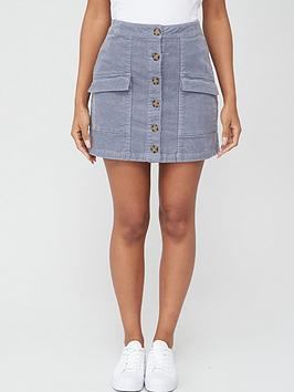 v-by-very-cord-button-front-pocket-skirt-grey
