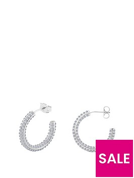 the-love-silver-collection-sterling-silver-crystal-34-hoop-earrings