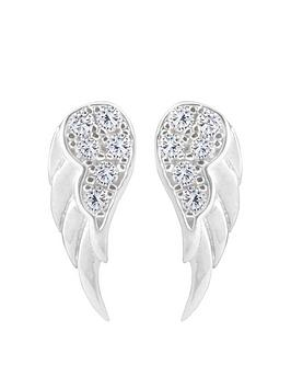 the-love-silver-collection-sterling-silver-cubic-zirconia-angel-wing-stud-earrings
