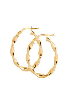 love-gold-9ct-gold-twisted-ribbon-oval-creole-hoop-earrings