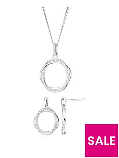 the-love-silver-collection-sterling-silver-cubic-zirconia-twist-circle-drop-earrings-and-pendant-set