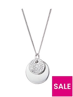 evoke-evoke-sterling-silver-swarovski-crystal-double-disc-pendant-necklace