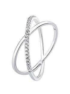 the-love-silver-collection-sterling-silver-cubic-zirconia-crossover-ring
