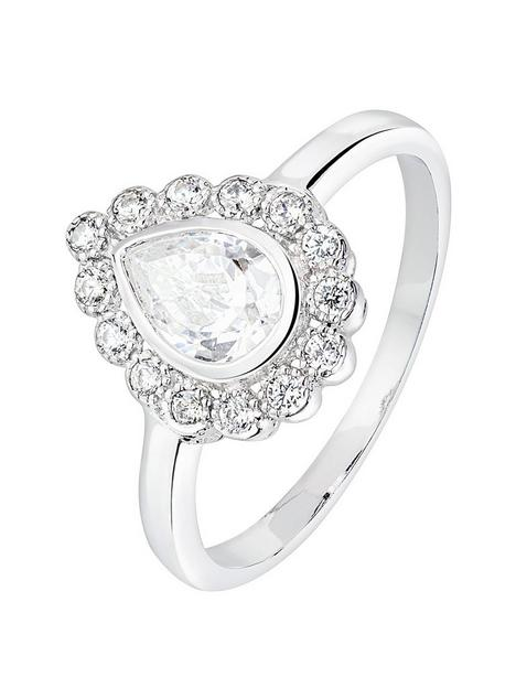the-love-silver-collection-sterling-silver-cubic-zirconia-halo-teardrop-ring
