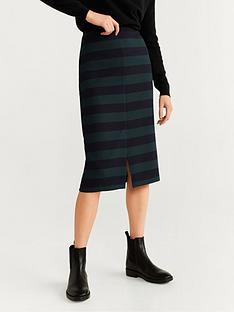 mango-bodycon-split-front-stripe-skirt-green