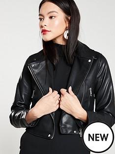 mango-cropped-pu-jacket-black