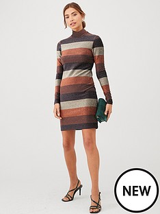 v-by-very-lurex-stripe-high-neck-dress-bronze