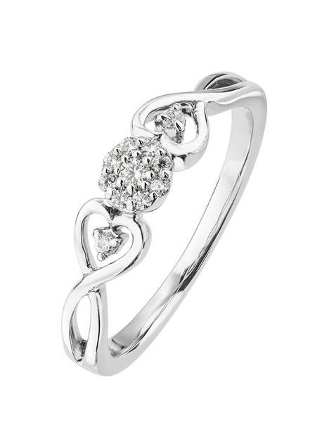 love-diamond-9ct-white-gold-10pt-diamond-cluster-ring-with-heart-twist-shoulder-detail