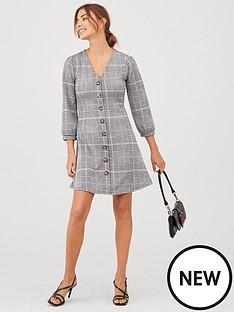 v-by-very-volume-sleeve-button-dress-check