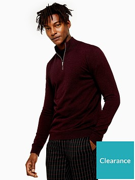 topman-topman-half-zip-knitted-jumper-burgundy