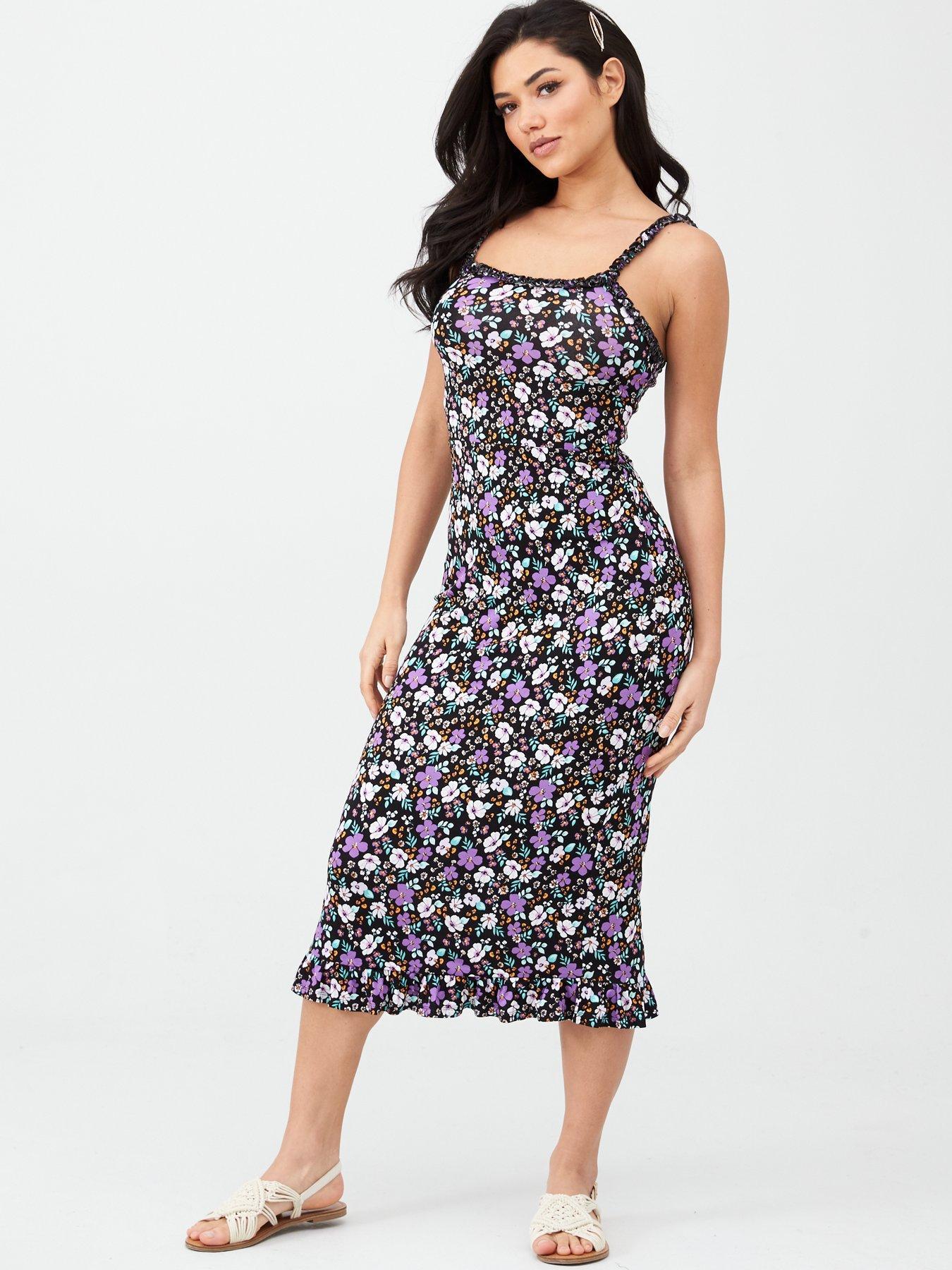 Brand New Women/'s Grey Floral Print Midi Party Bodycon Pencil Dress Size 8-16
