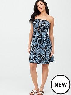 v-by-very-button-detail-shirred-mini-dress-palm-print