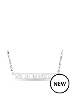 the-love-silver-collection-personalised-sterling-silver-roman-numeral-bar-pendant-necklace