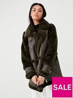 warehouse-longline-oversized-aviator-jacket-khaki
