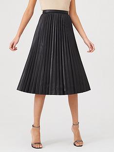 warehouse-pu-pleated-midi-skirt-black