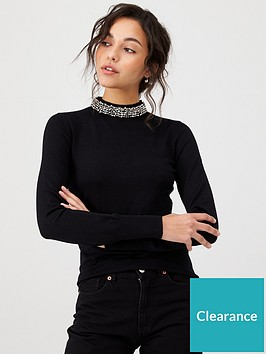 warehouse-embellished-high-neck-jumper-black