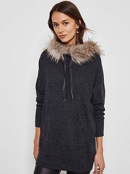 mint-velvet-faux-fur-longline-knitted-hoodie-charcoalnbsp