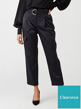 warehouse-satin-utility-trouser-black