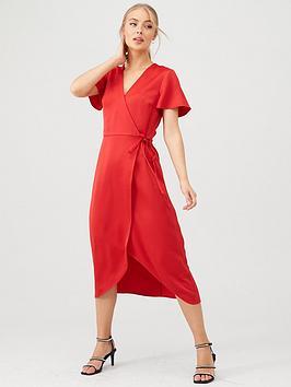 warehouse-satin-wrap-midi-dress-red