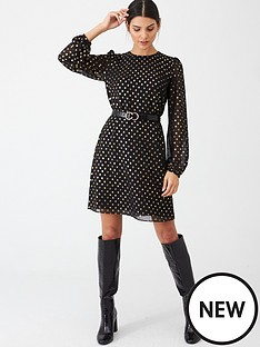 warehouse-foil-spot-dress-gold