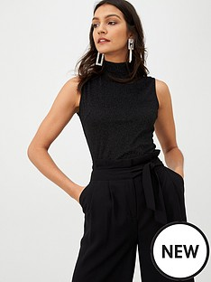 warehouse-sleeveless-lurex-funnel-neck-top-black