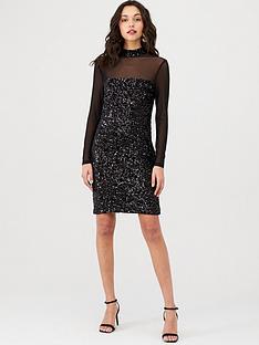 warehouse-velvet-sequin-mesh-sleeve-dress-black