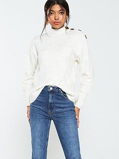 warehouse-button-shoulder-cosy-jumper-ivory