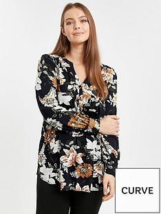 evans-black-floral-print-jersey-shirt