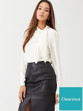 warehouse-tie-neck-blouse-ivory