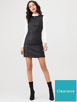 oasis-faux-leather-zip-shift-dress-black